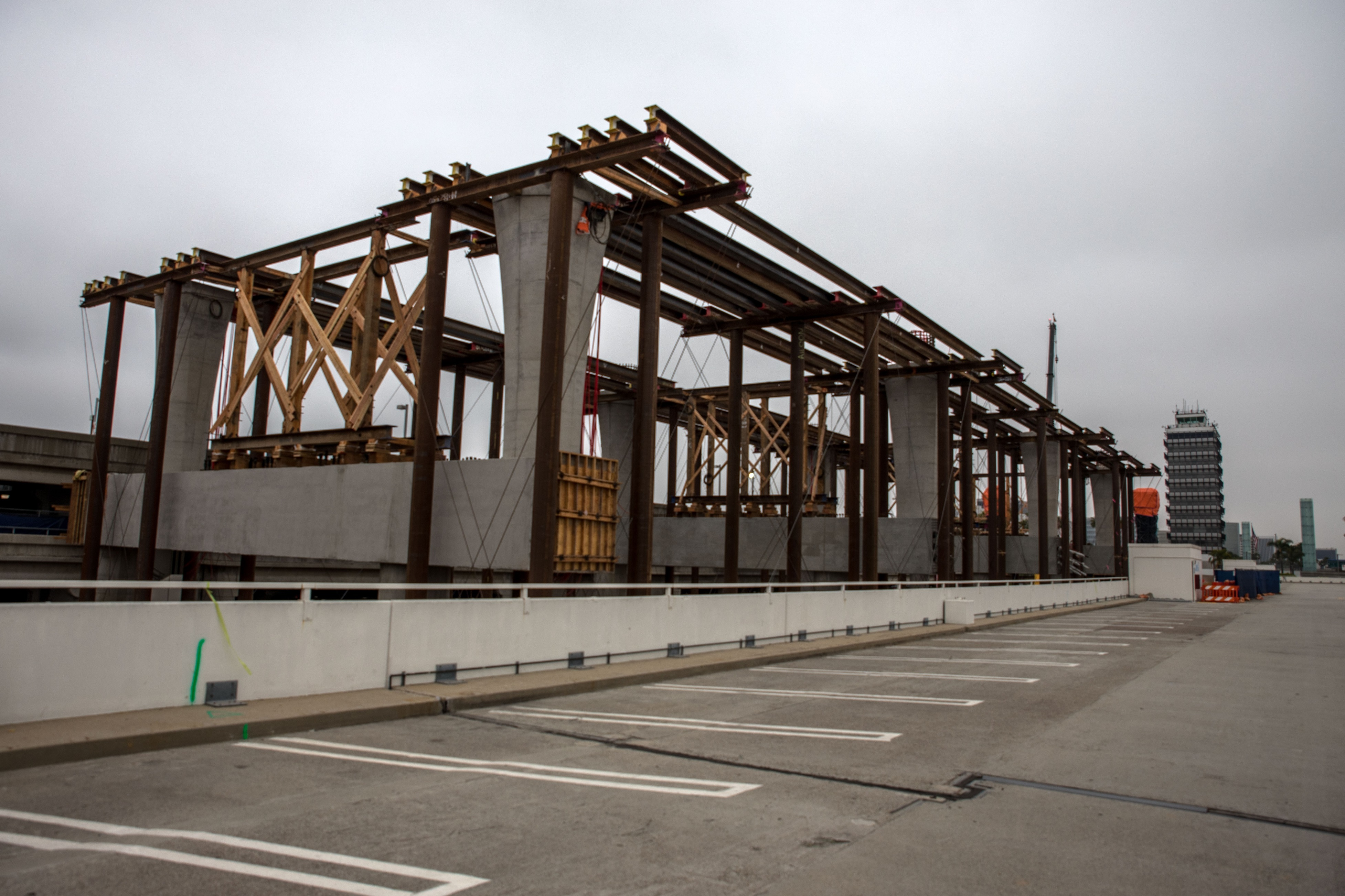 Falsework is erected to enable guideway construction at the future East CTA station.