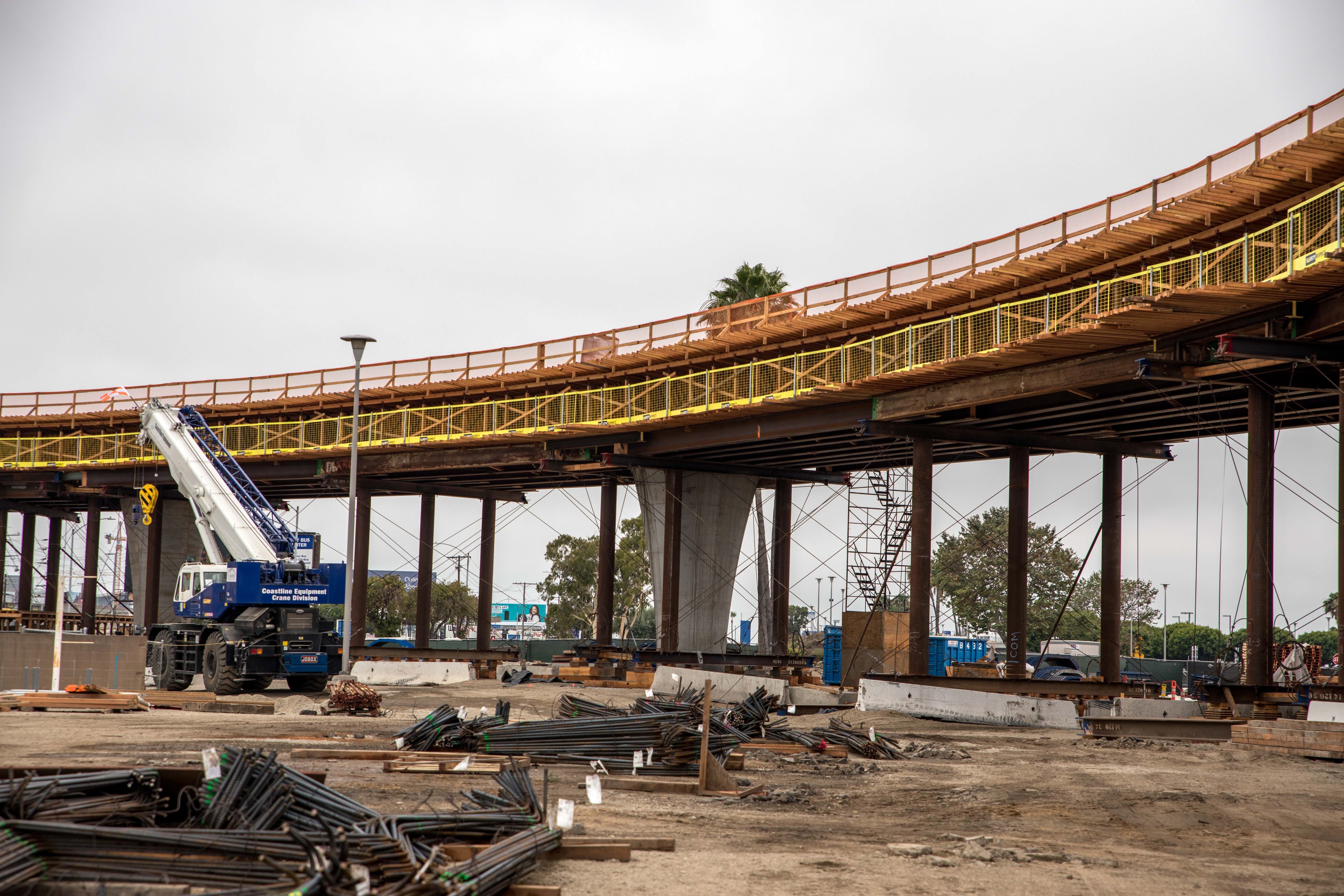 Falsework and formwork to enable guideway construction is in place for a segment of guideway near the future ITF-West station.