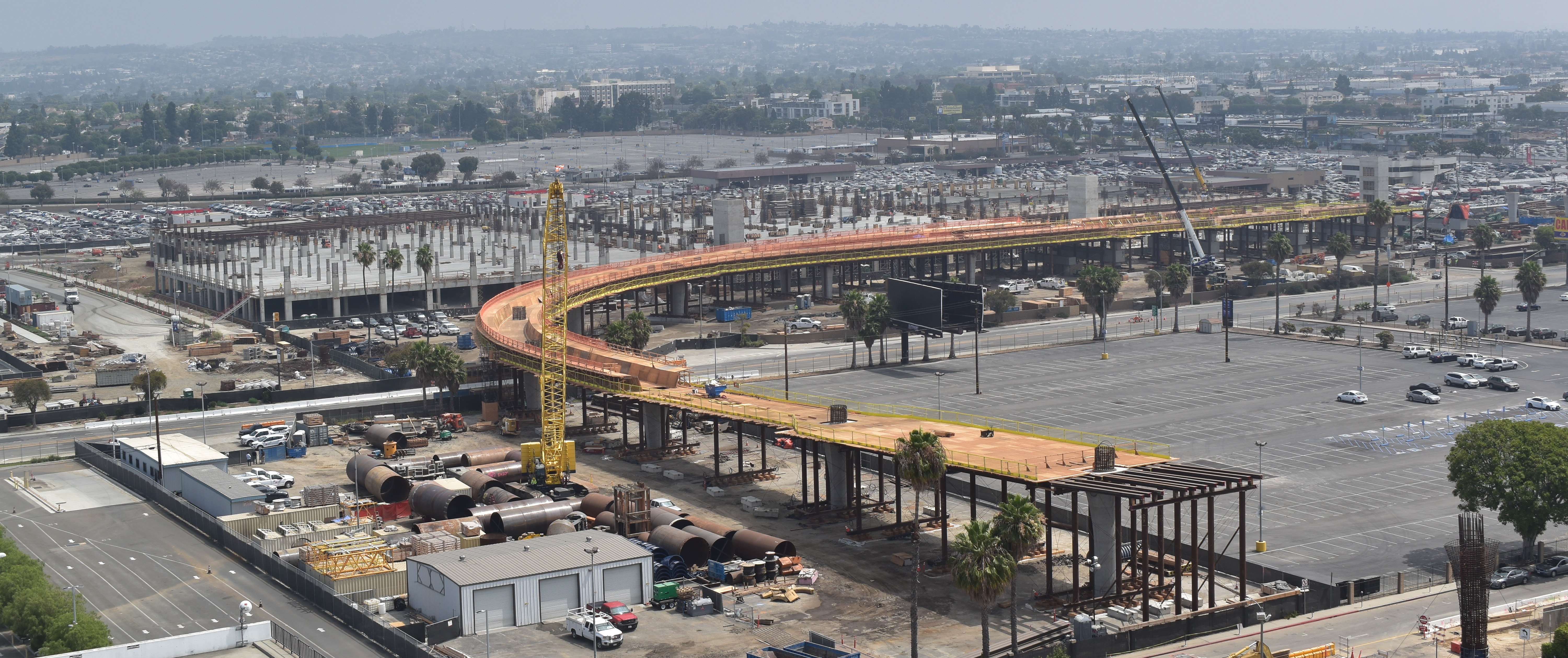 A view of the guideway and Intermodal Transportation Facility-West where it turns at 96th Street.