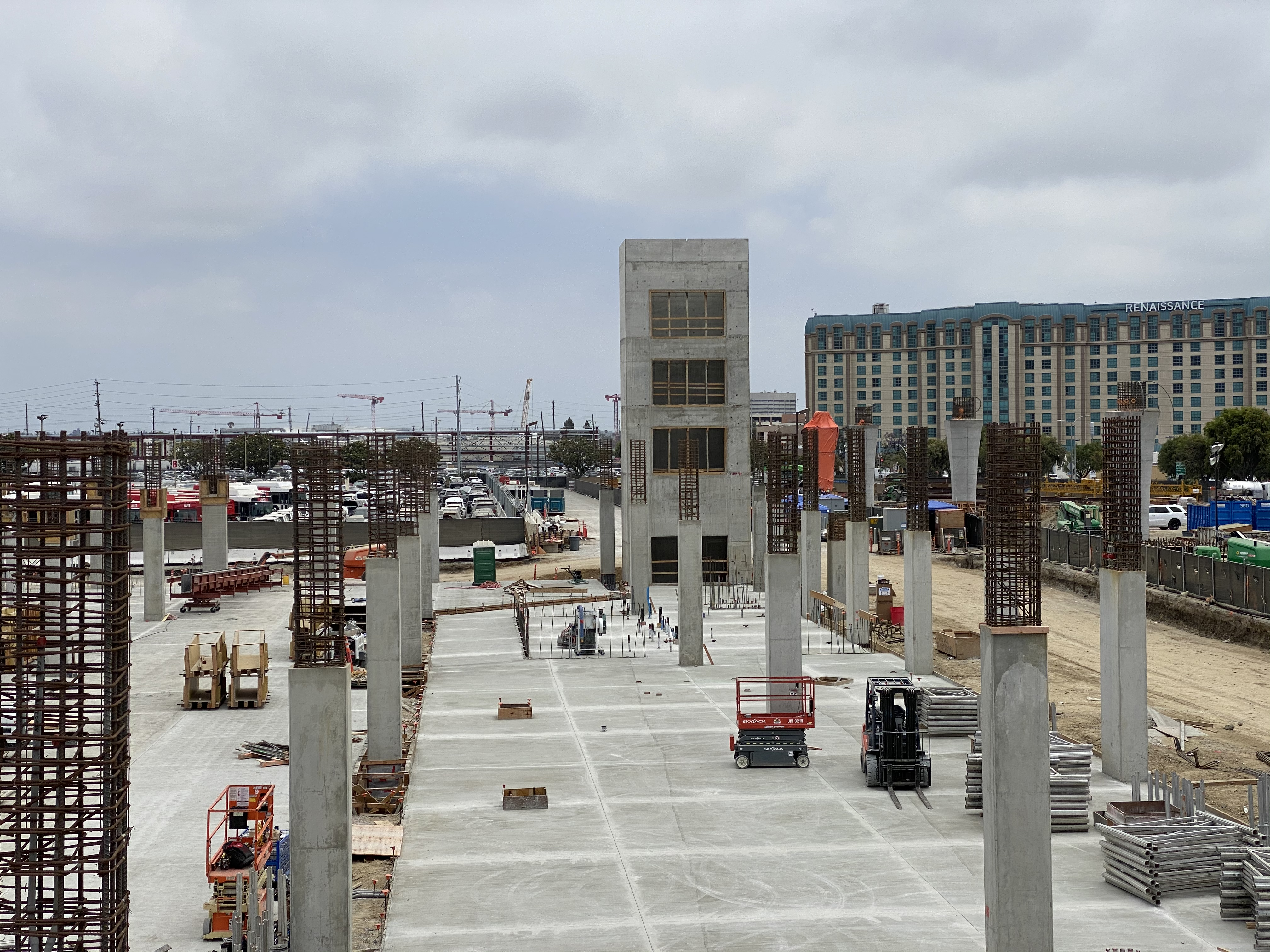 The final completed slab-on-grade pour for the Intermodal Transportation Facility-West.