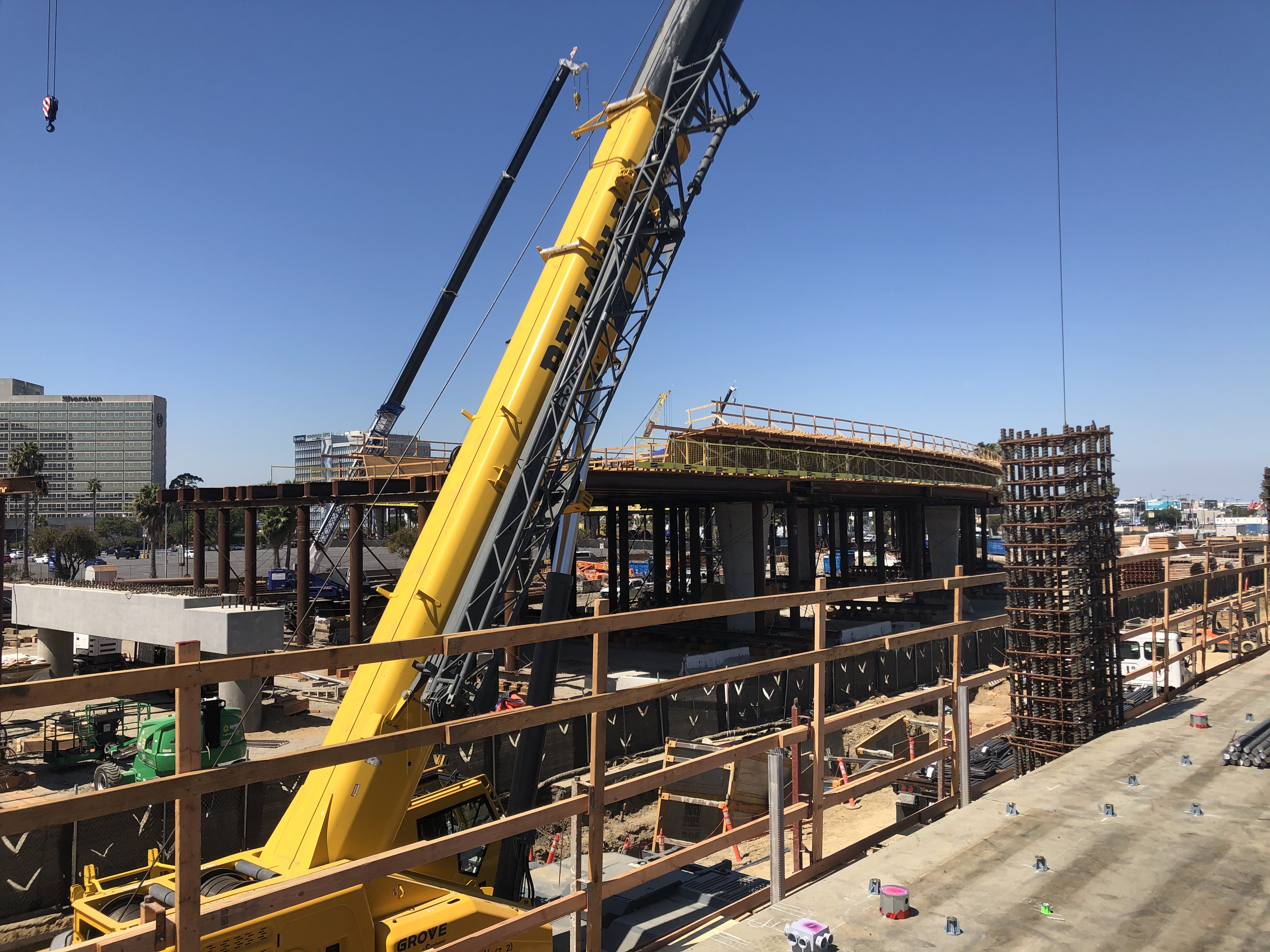 A view of the train guideway next to the Intermodal Transportation Facility-West.