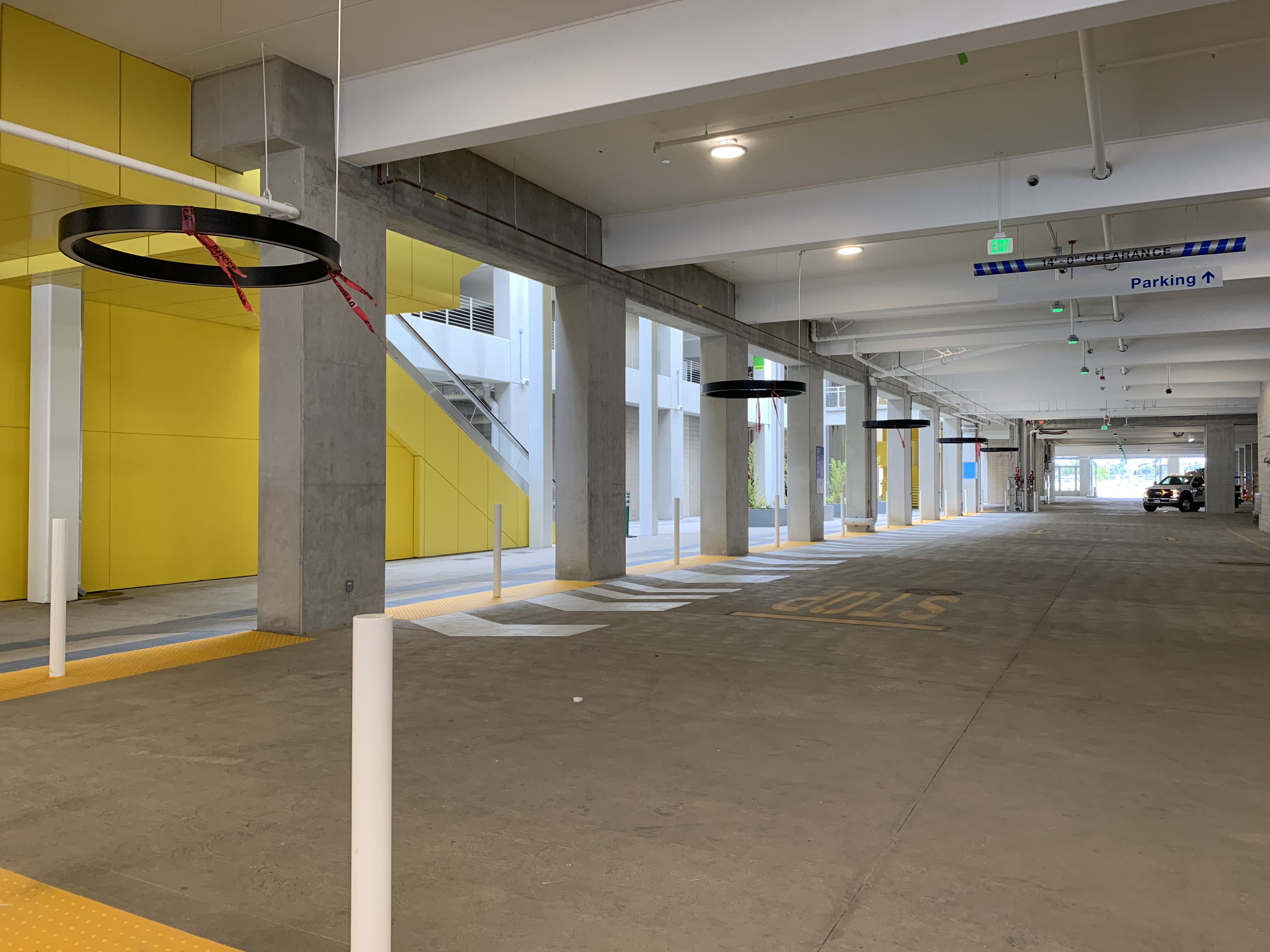 A view of a pedestrian pathway inside the Intermodal Transportation Facility-West.
