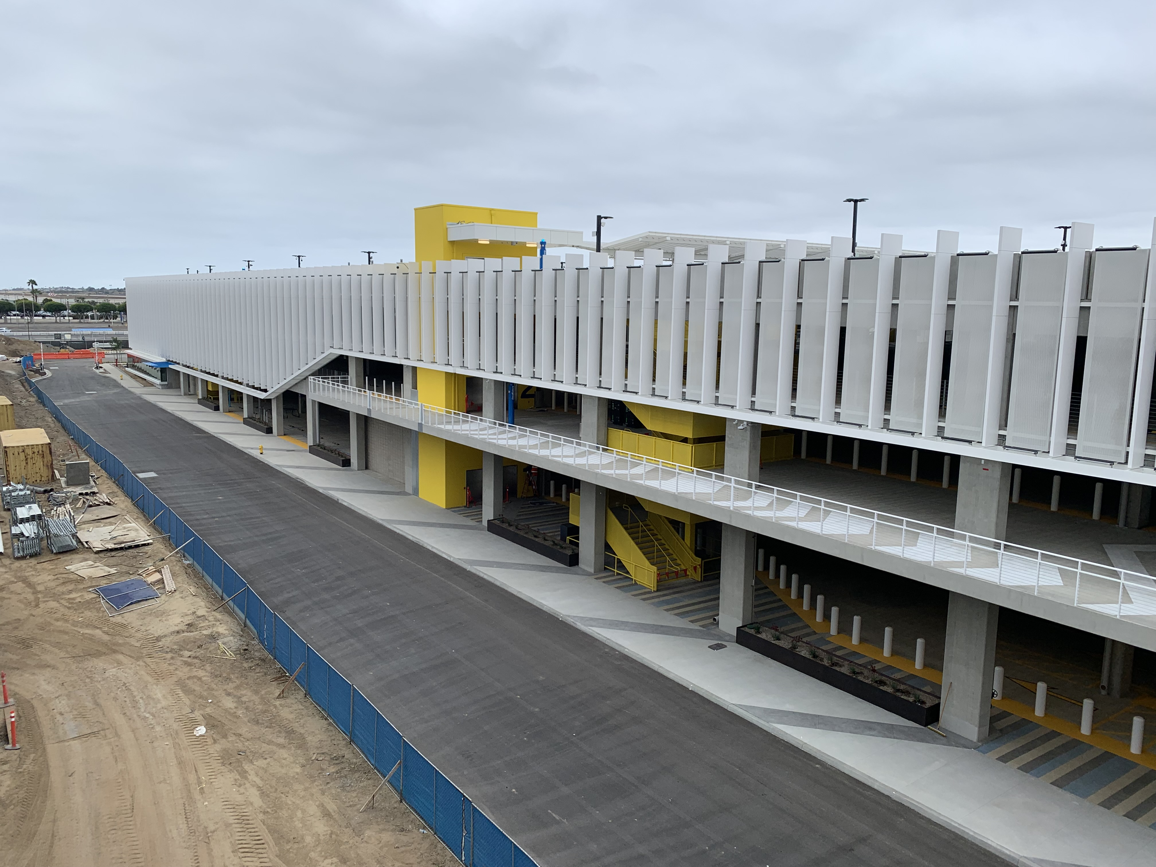 A view of the Intermodal Transportation Facility-West from the Automated People Mover train guideway.