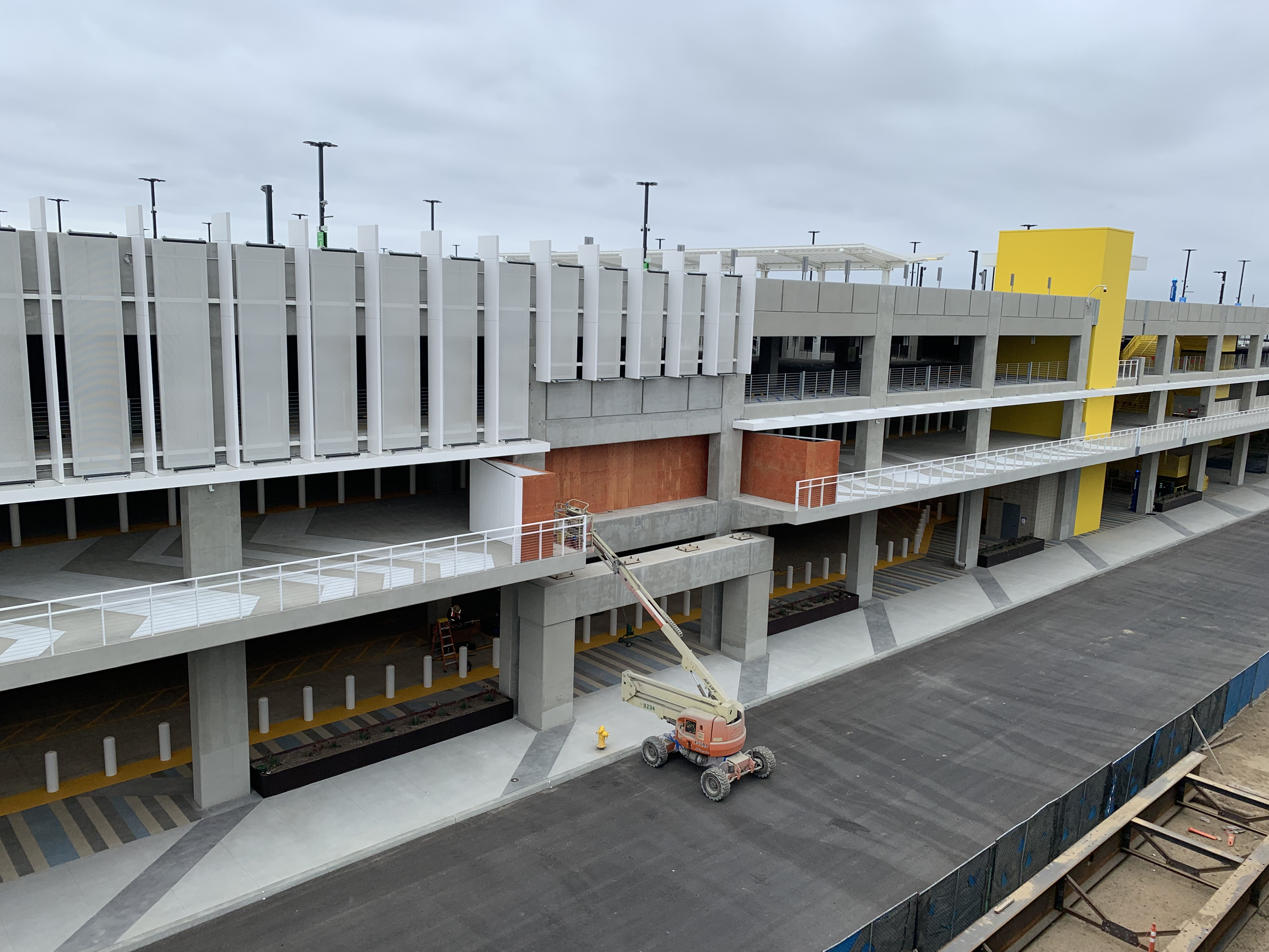 A view of where a pedestrian bridge will land to connect the Intermodal Transportation Facility-West to the Automated People Mover station.