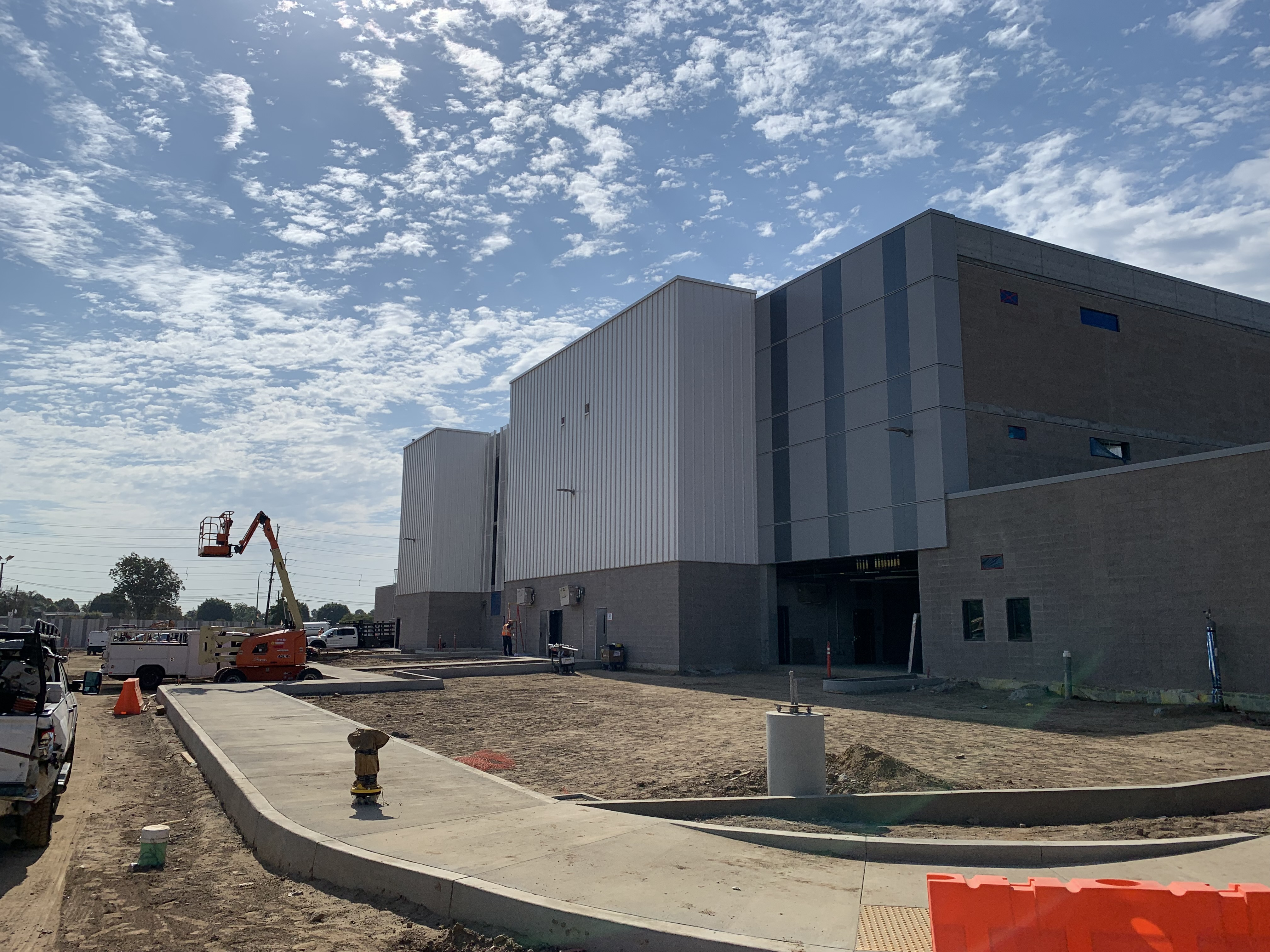 An exterior view of the Quick Turn Around building at the Consolidated Rent-A-Car facility.