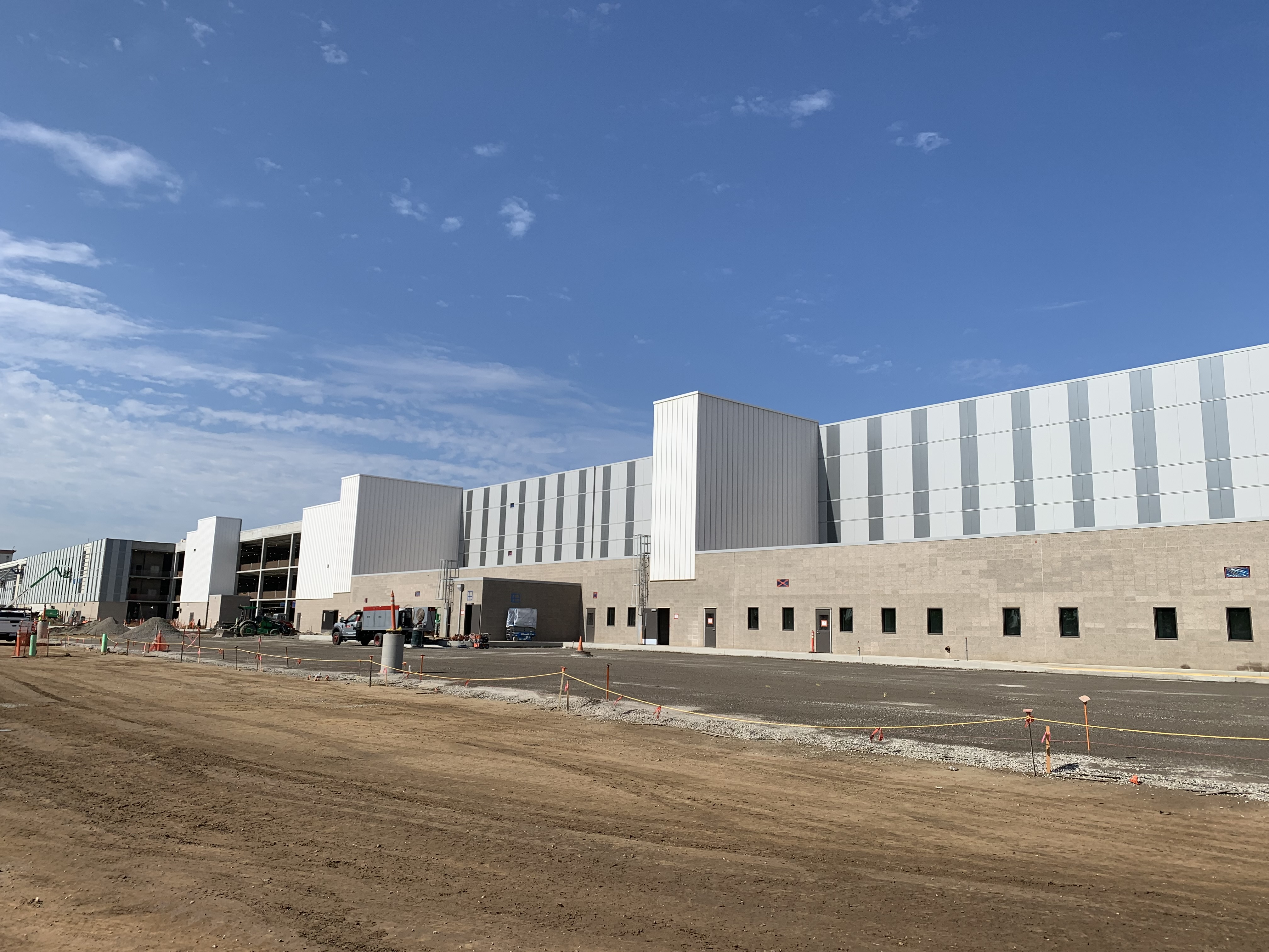 An exterior view of the eastside of the Quick Turn Around building at the Consolidated Rent-A-Car facility.